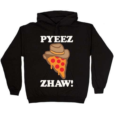 Pyeezzhaw Pizza Cowboy Parody White Print Hooded Sweatshirt
