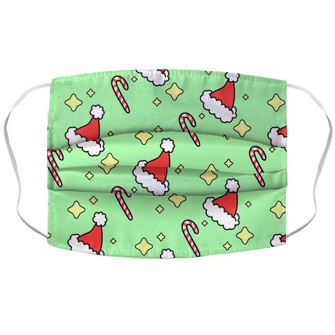 Santa Hats N Candy Canes Accordion Face Mask