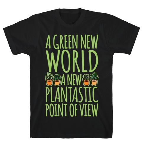 A Green New World Parody White Print T-Shirt