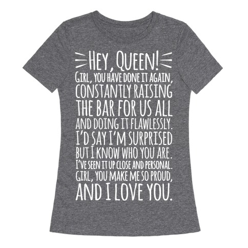 Hey Queen Michelle Obama Quote White Print Womens T-Shirt