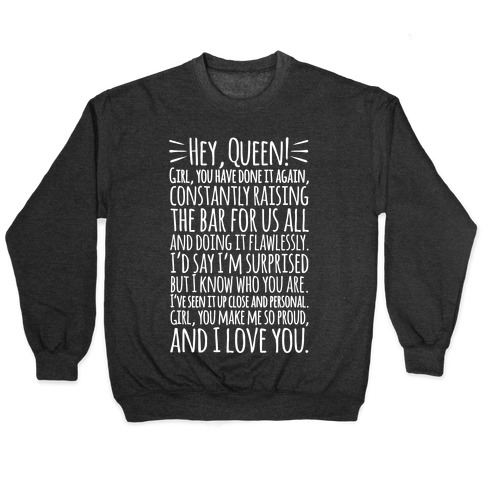 Hey Queen Michelle Obama Quote White Print Pullover
