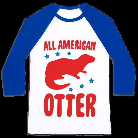 All American Otter  Baseball Tee