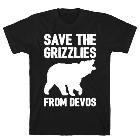 Save The Grizzlies from DeVos White Print Mens T-Shirt