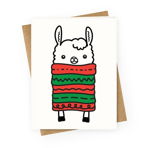 Long Llama Scarf Greeting Card