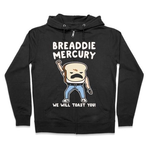 Breaddie Mercury Parody White Print Zip Hoodie