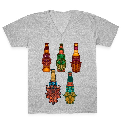 Beers With Beards Pattern V-Neck Tee Shirt