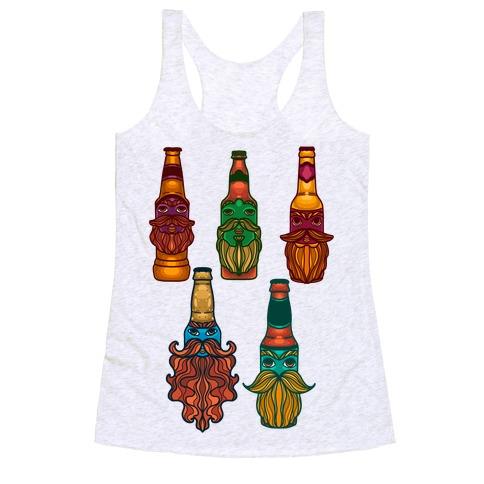 Beers With Beards Pattern Racerback Tank Top