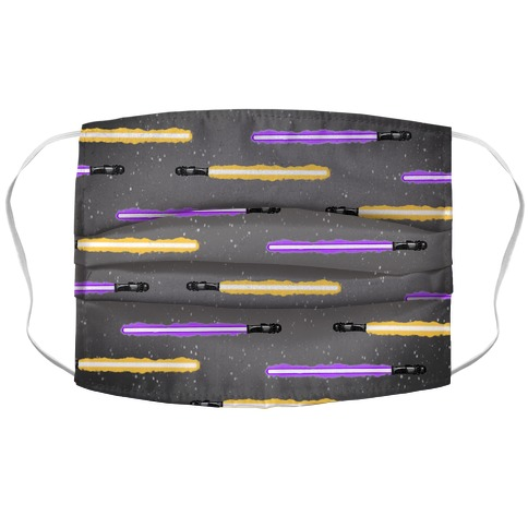 Yellow and Purple Lightsaber Pattern Face Mask Cover