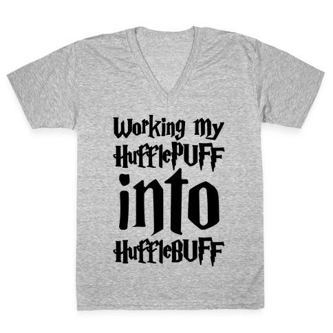Working My Hufflepuff Into Hufflebuff Parody V-Neck Tee Shirt