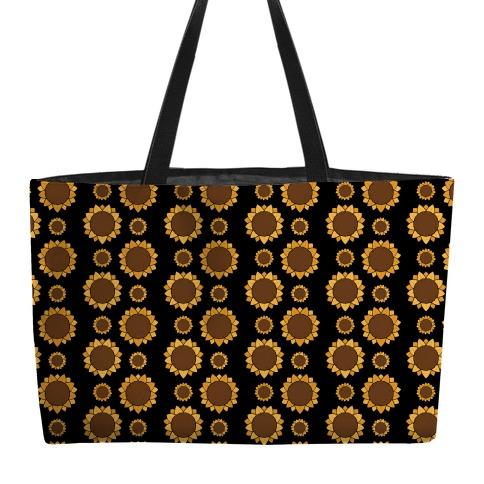 Sunflower Pattern Black Weekender Tote