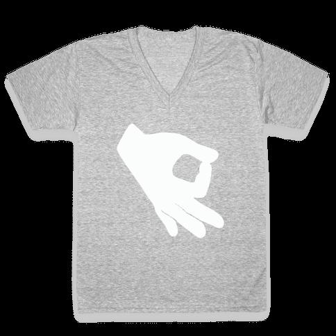 Finger Circle  V-Neck Tee Shirt