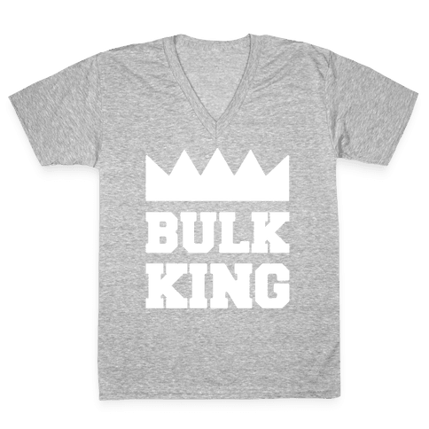 Bulk King White Print V-Neck Tee Shirt
