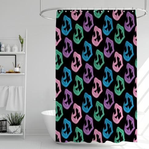 Pastel Goth Vampire Teeth Pattern Shower Curtain