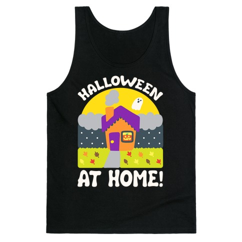 Halloween At Home White Print Tank Top