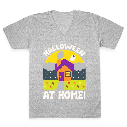 Halloween At Home White Print V-Neck Tee Shirt