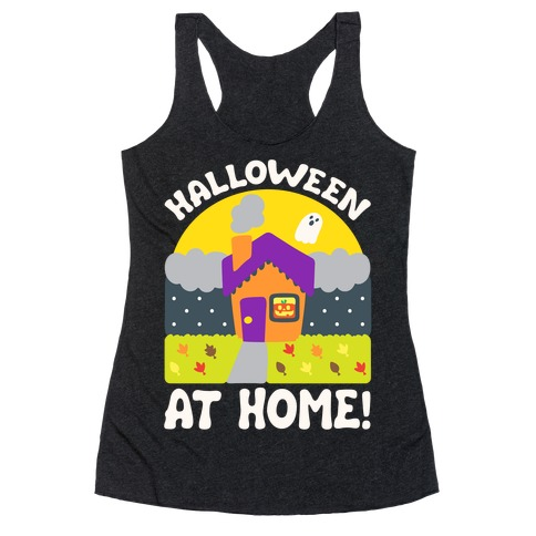 Halloween At Home White Print Racerback Tank Top