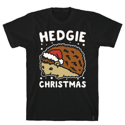 Hedgie Christmas White Print Mens T-Shirt