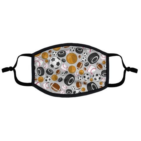 Sports Balls Pattern Flat Face Mask