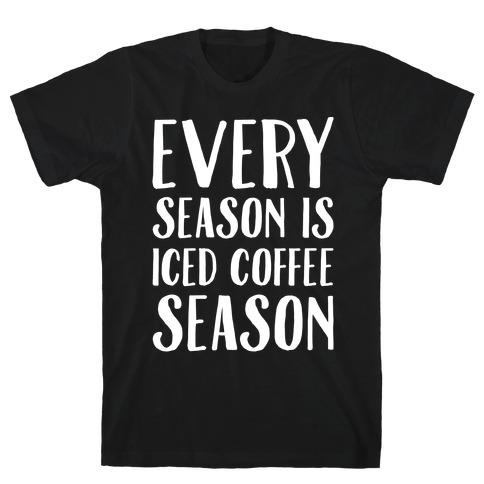 Every Season Is Iced Coffee Season White Print T-Shirt