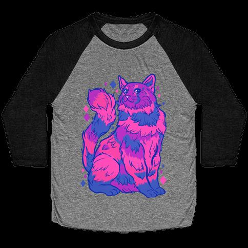 Bisexual Pride Cat Baseball Tee