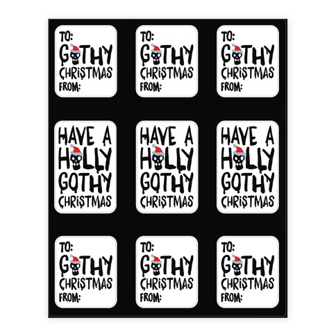 Have A Holly Gothy Christmas Sticker and Decal Sheet