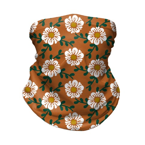 Retro Flowers and Vines Rust Orange Neck Gaiter