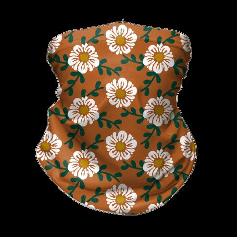 Retro Flowers and Vines Rust Orange Neck Gaiter