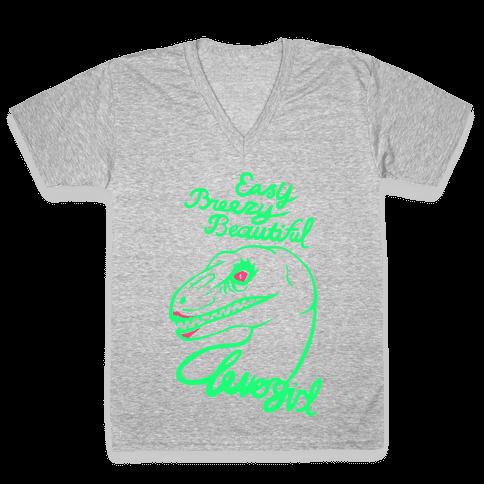 Easy Breezy Beautiful, Clever Girl Velociraptor V-Neck Tee Shirt
