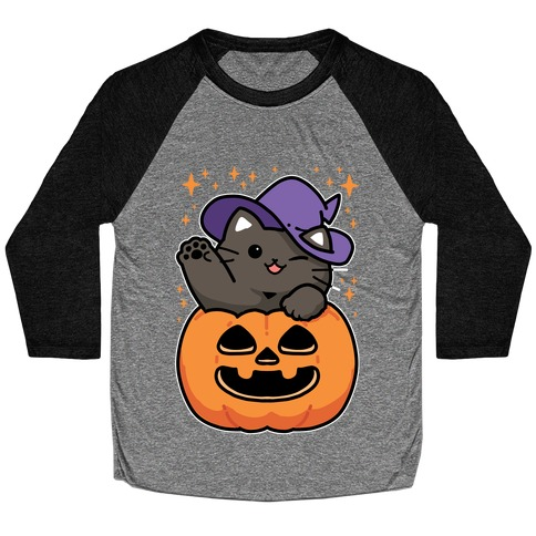 Cute Halloween Cat Baseball Tee