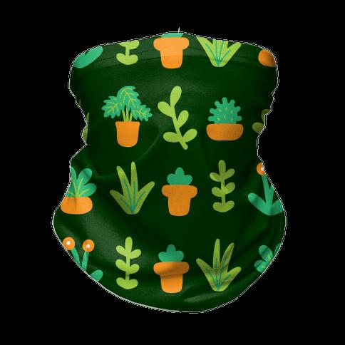 Graphic Plants Pattern Neck Gaiter