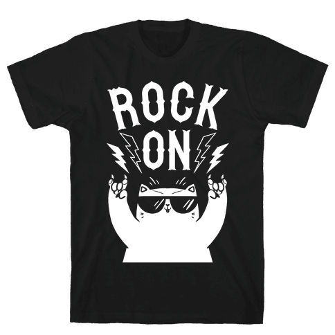 Rock On Cat Mens T-Shirt