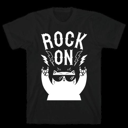 Rock On Cat Mens T-Shirt