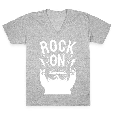 Rock On Cat V-Neck Tee Shirt