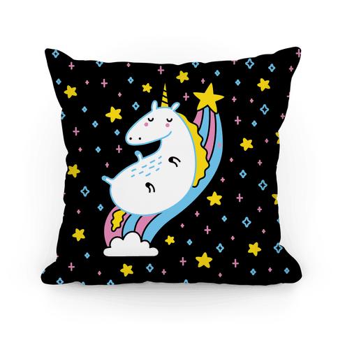 Unicorn On Rainbow Pillow
