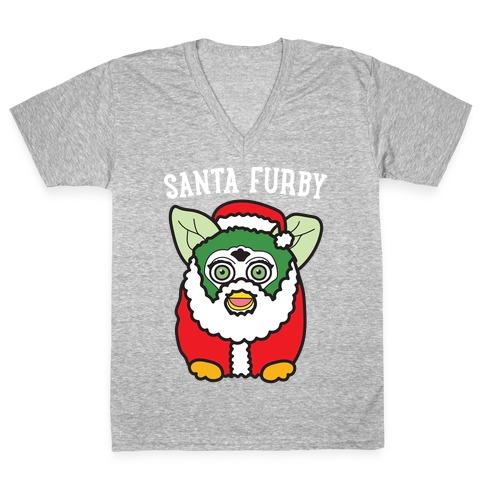 Santa Furby V-Neck Tee Shirt