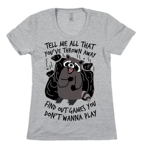 Dirty Little Secret Emo Raccoon Womens T-Shirt