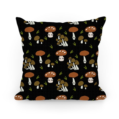 Forest Mushroom Boho Pattern Black Pillow
