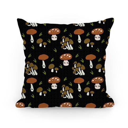 Forest Mushroom Boho Pattern Black Pillow