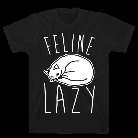 Feline Lazy White Print Mens T-Shirt