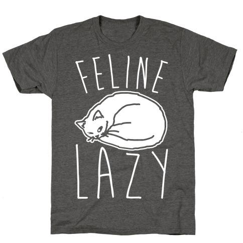 Feline Lazy White Print T-Shirt
