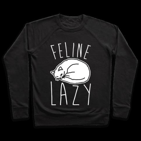 Feline Lazy White Print Pullover