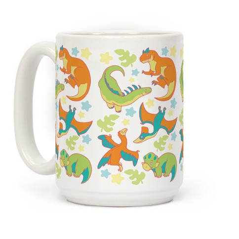 Funky Dinosaur Friends Pattern Coffee Mug