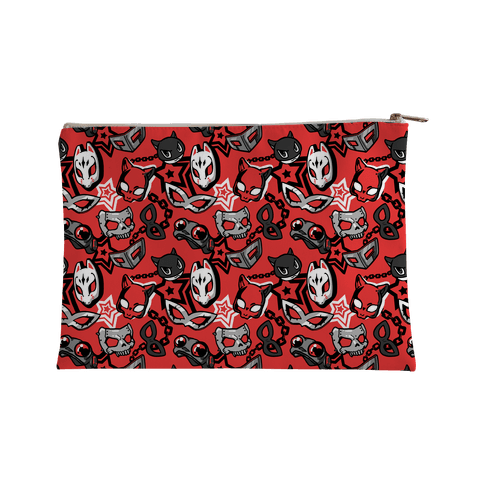Persona Masks Pattern Accessory Bag