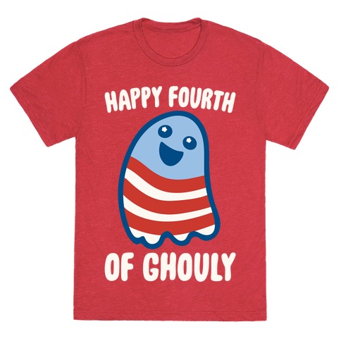 Happy Fourth of Ghouly White Print T-Shirt