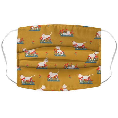 Pit Bull and Poppies Accordion Face Mask