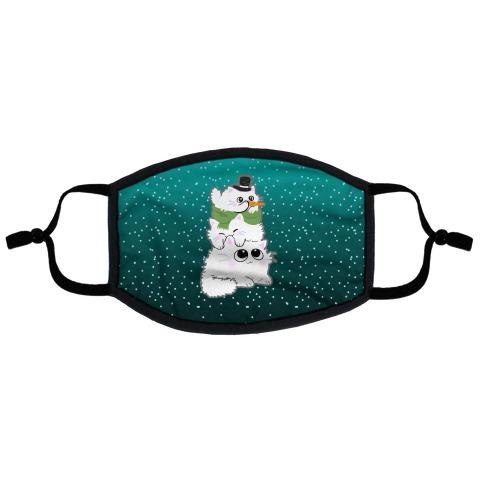 Cat Stack Snowman Flat Face Mask