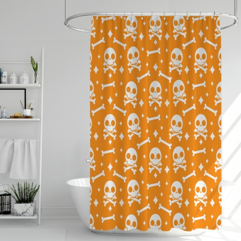 Cute Skull N' Bones Pattern (Orange) Shower Curtain
