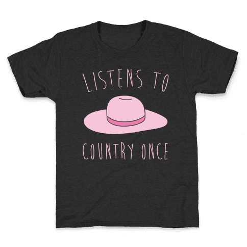 Listens To Country Once Parody White Print Kids T-Shirt