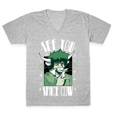 See You Space Cow V-Neck Tee Shirt