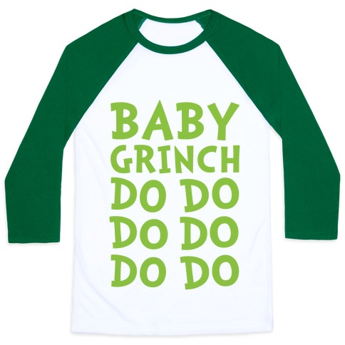 Baby Grinch Baby Shark Parody Baseball Tee